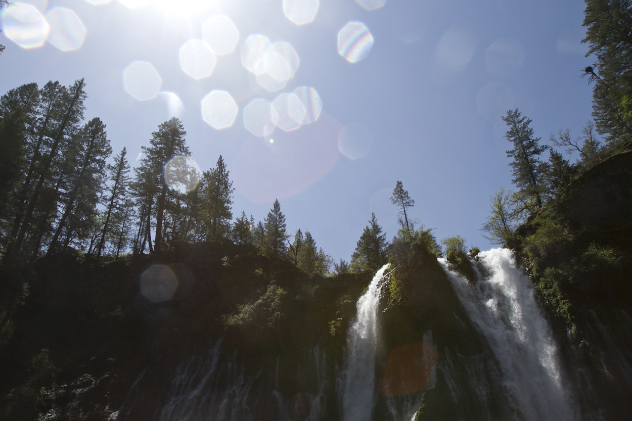 At the bottom looking up at Burney Falls. Photo by Clay Duda.