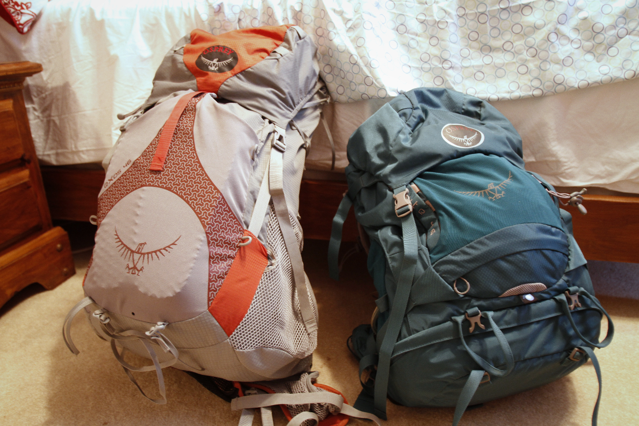 His and hers Osprey 46 liter backpacks. Photo by Clay Duda.