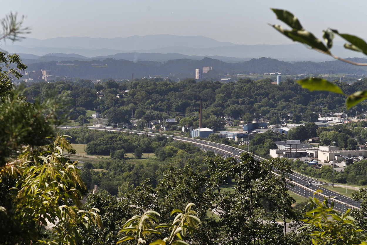 Looking toward Knoxville from Sharp's Ridge north of town. The Smoky Mountains in the background. Photo by Clay Duda.