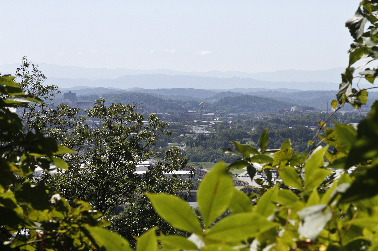 A view of Knoxville's giant disco ball from Sharp's Ridge Memorial Park. Photo by Clay Duda.