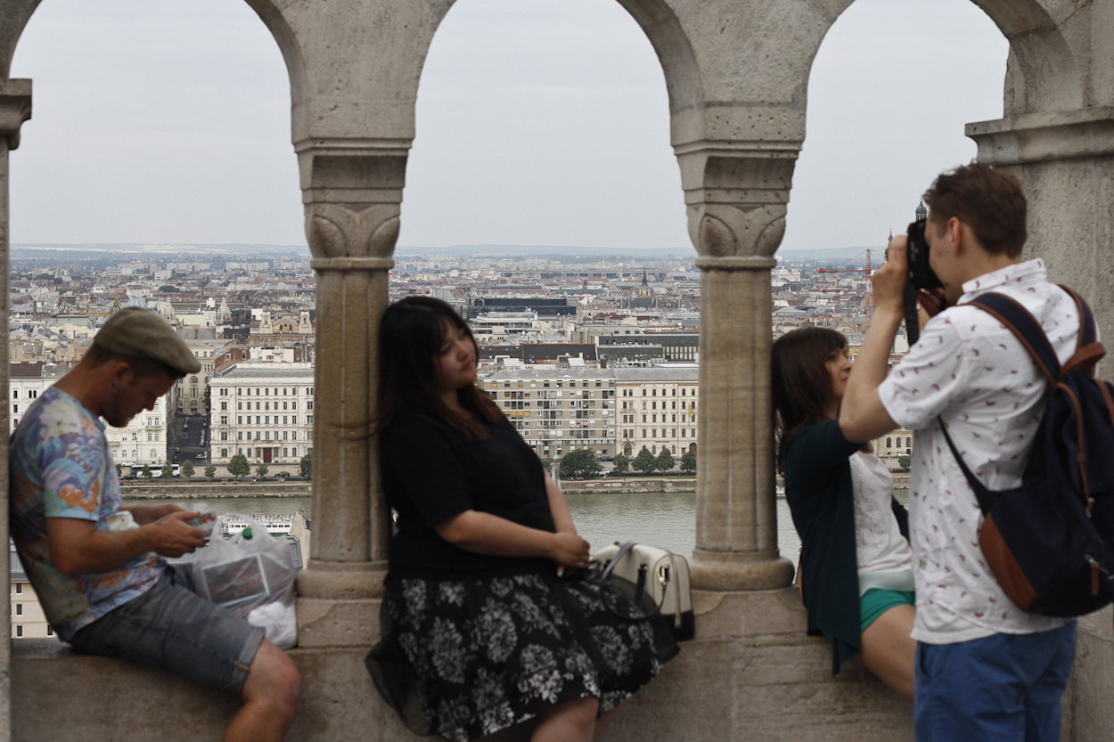 Tourists at Buda Castle. Photo by Clay Duda.