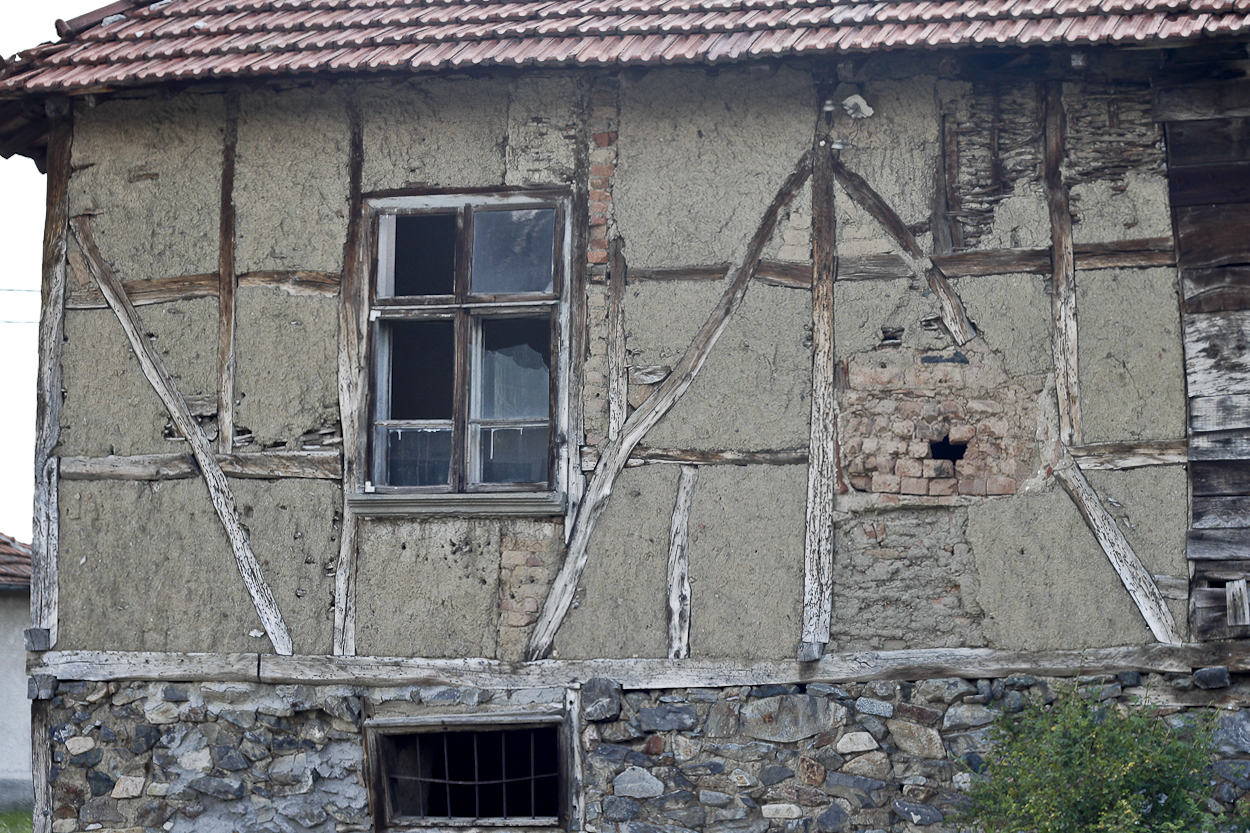 Traditional Bulgarian house construction in Yarlovo village near Sofia, Bulgaria. Photo by Clay Duda.