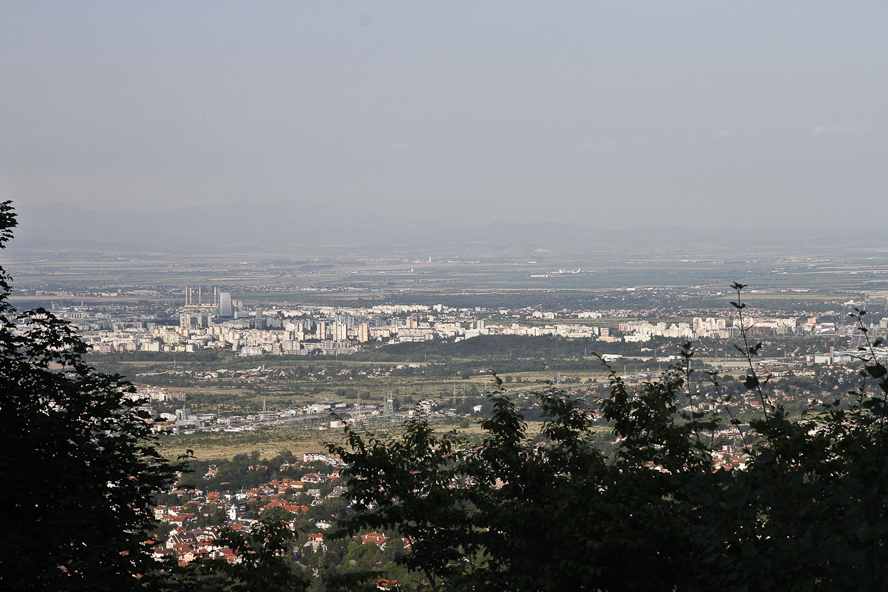 The skyline of Sofia, Bulgaria as seen from Vitosha Mountain. Photo by Clay Duda.