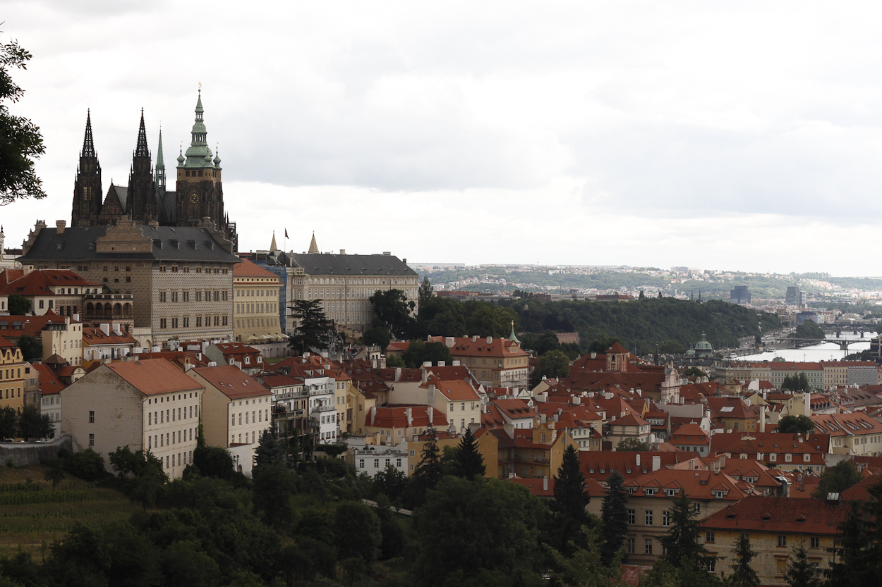 Prague Castle, at left. Photo by Clay Duda.