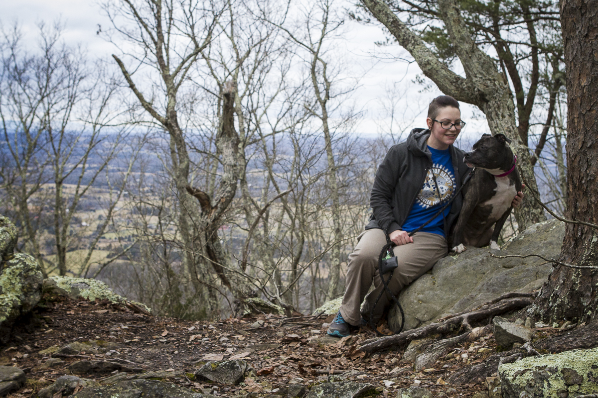 Melissa and Peaches sit on top of House Mountain in Knox County, Tennessee. Photo by Clay Duda.