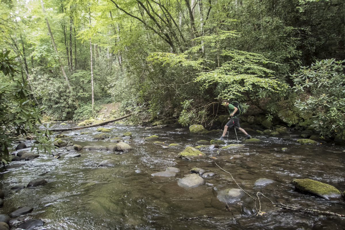 Scott D. crosses Eagle Creek in the Great Smoky Mountains National Park. Photo by Clay Duda.