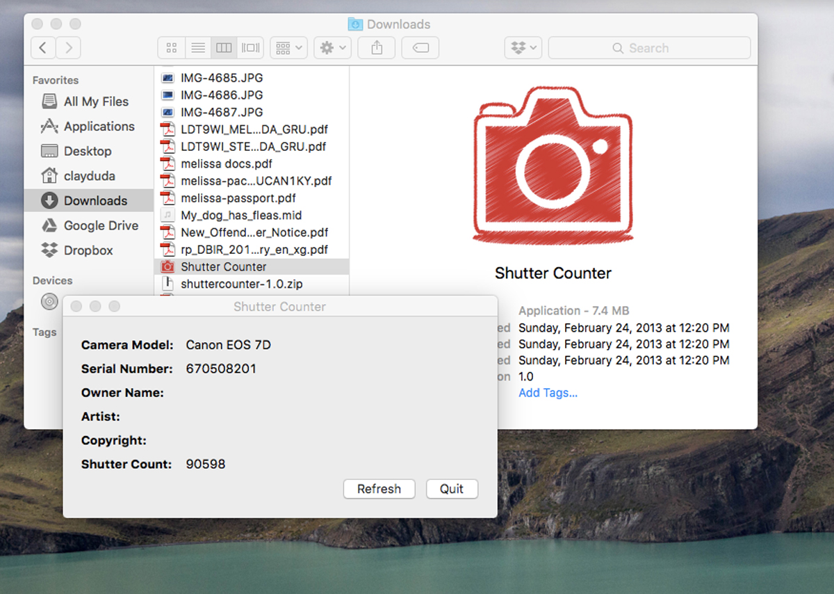 "MIJ's Canpn EOS ""Shutter Counter"" app for Mac"