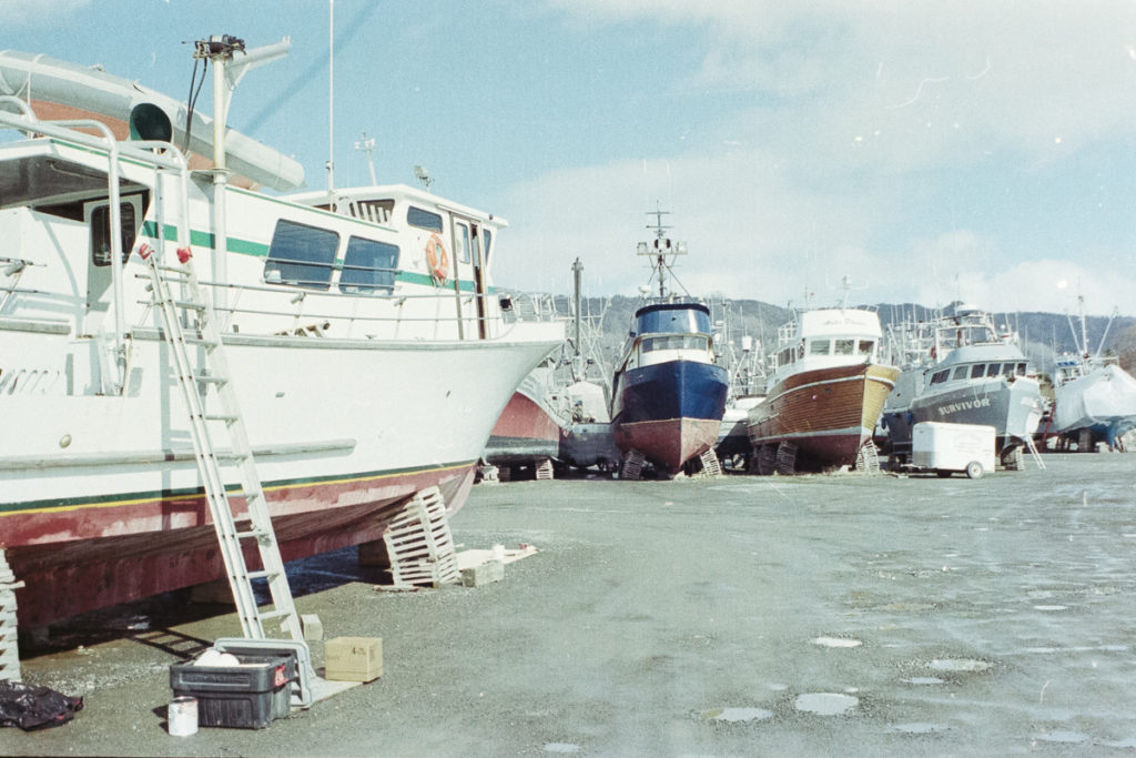 M/V Irish in the Homer boat yard. Photo by Clay Duda. Olympus OM2n, 35mm f2.8 lens, Portra 400.